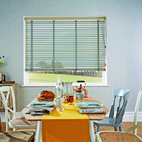 Photo of venetian blinds in dining room